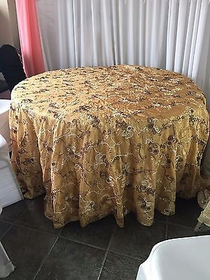 """LOT OF 10* 132"""" Inch Full Round Gold Ivory & Brown Thread Tablecloth Table Cover"""