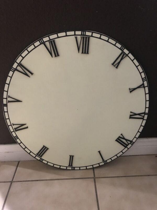 "Center Piece Wood Clock Roman Style Hand Made 24"""