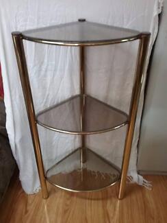 GLASS TRIANGLE SHELF 43 X 43  x 53  X 102 high