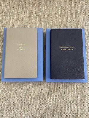 Brand New Lot (2) Smythson Panama Leather Notebook