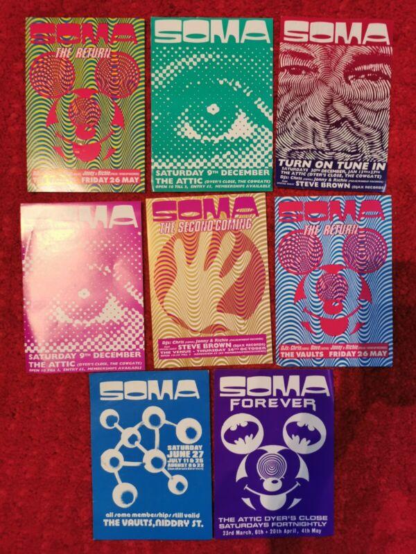 8xOrig 1990-1994 SOMA Rave Acid Chicago House Detroit Techno Jungle CLUB FLYERS