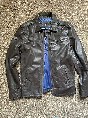 SUPERDRY Leather Jacket Hero Vintage Biker Size Large Great Condition Brown