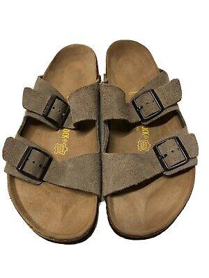 Birkenstock Arizona Taupe Suede Strap Sandals Mens 12 US/45 EU Germany Suede Mens Sandals