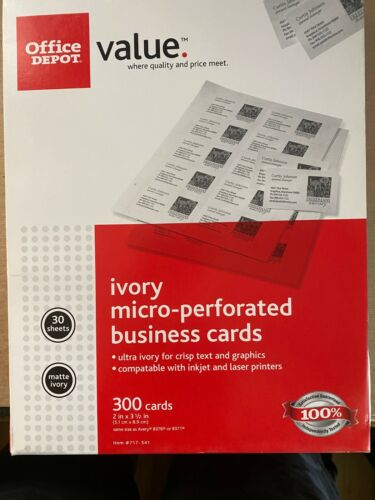 3 Boxes Office Depot Brand Matte and Gray Business Cards, NEW