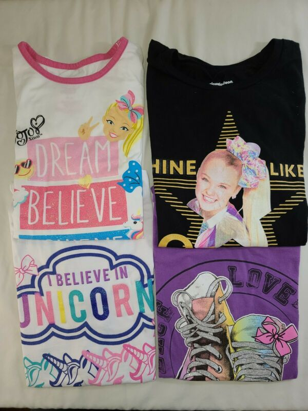 LOT OF 4 JOJO SIWA Clothing Size 10/12. T-shirts Black White and Purple