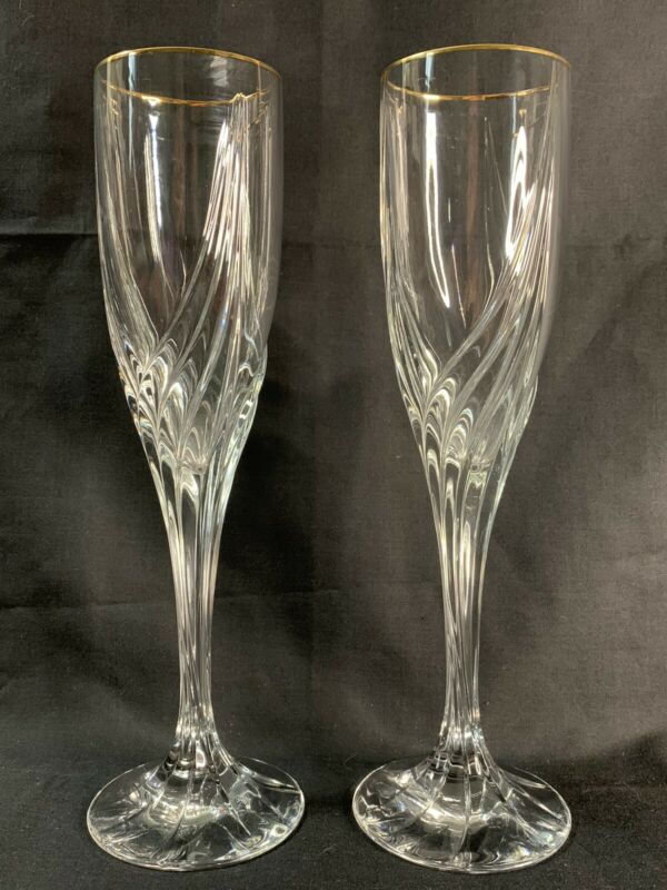 "2 Lenox Debut Gold 9"" Fluted Champagne Glasses"