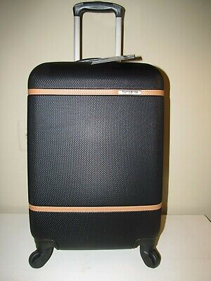 Samsonite Expandable Carry On Spinner-Black with British  Saddle Accents, NWT