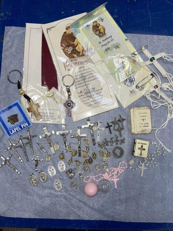 Mixed Lot 40+ Religious Spiritual Jewelry Rosaries Medals Crosses Mini Bible