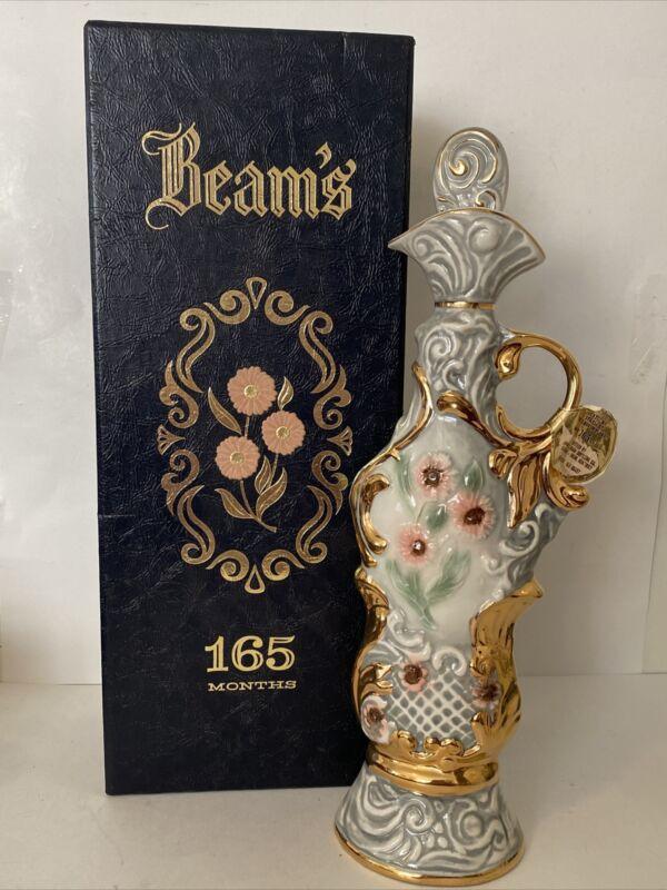 Vtg Jim Beam Regal China Hollywood Regency Whiskey Decanter Floral Liquor Bottle
