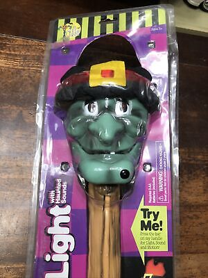 Vintage Halloween Torch Light With Sounds Witch Flashlight Gemmy R3