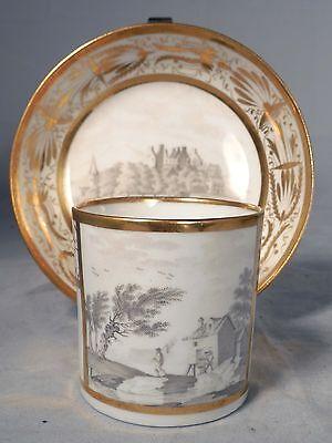 Antique 19th C Paris Porcelain Scenic Cup Saucer Gold Floral Trim Ginori Limoges