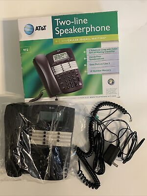 AT&T Two-Line Speakerphone 972 Landline Phone In Box - Tested Works