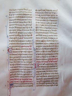 "Illuminated handwritten leaf . ""Liber Sententiarum""  1250-1300.  Important work."