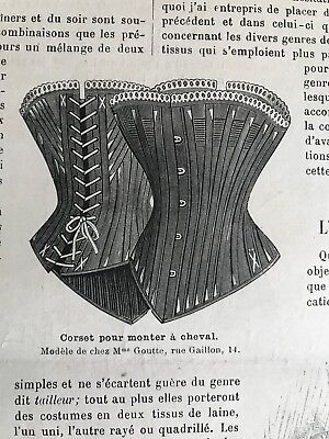 MODE ILLUSTREE SEWING PATTERN Oct 10,1886  RIDING -SIDE SADDLE CORSET, BRIDE