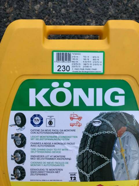 AS NEW: Konig Snow Chains T2 Magic Size 230 (Self-Tensioning
