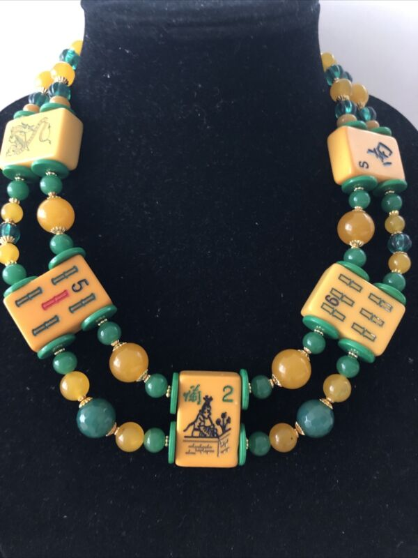 Butterscotch Bakelite Mah Jong Tile and Green Glass Two Strand Necklace