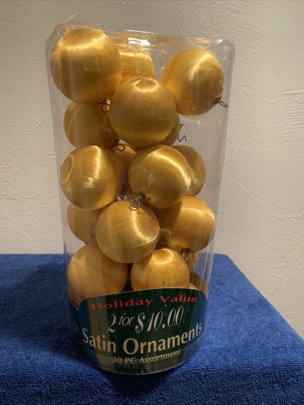 Vintage Gold Satin Silk String Styrofoam Christmas Tree Ornaments Lot Of 22
