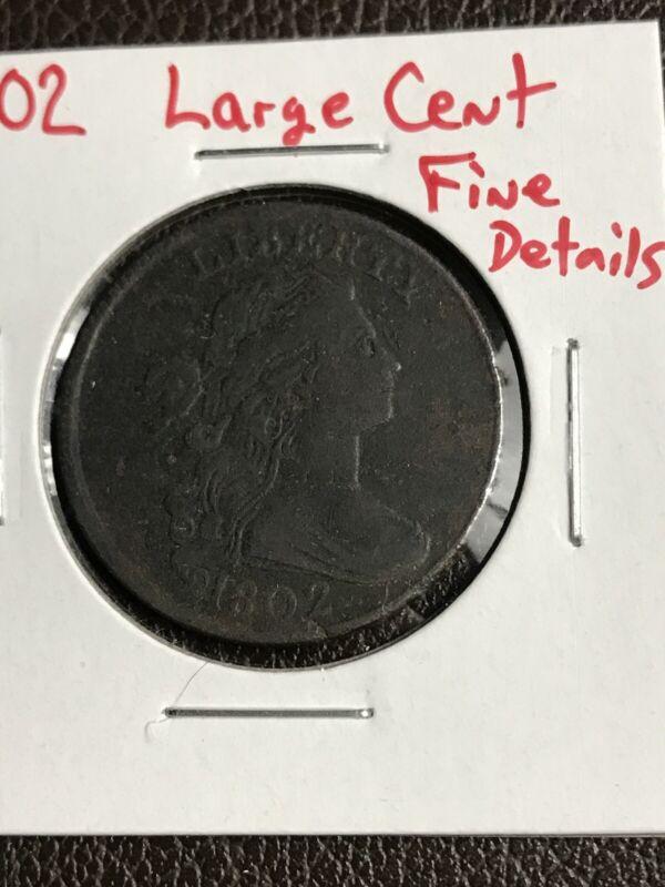 1802 1C BN Draped Bust Large Cent Fine Detail