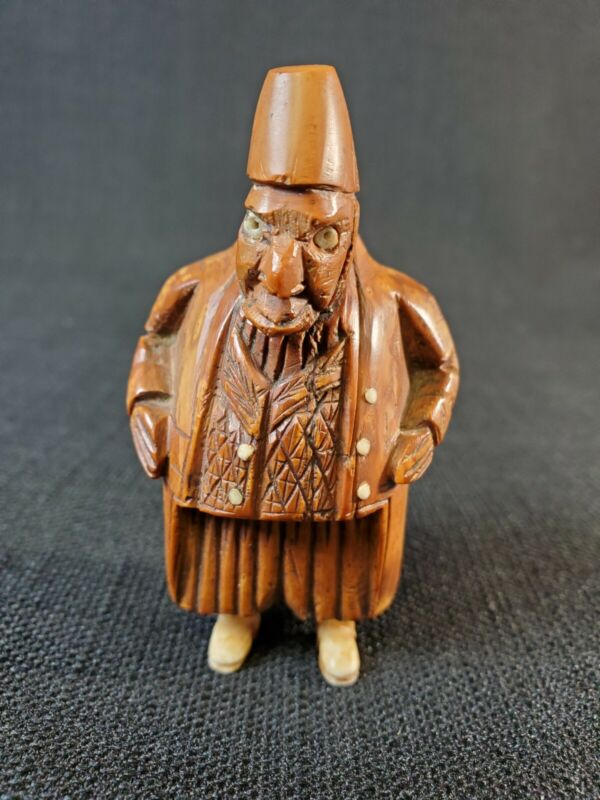 Rare 18th Century French Carved Coquilla Nut Snuff Box Figural Man