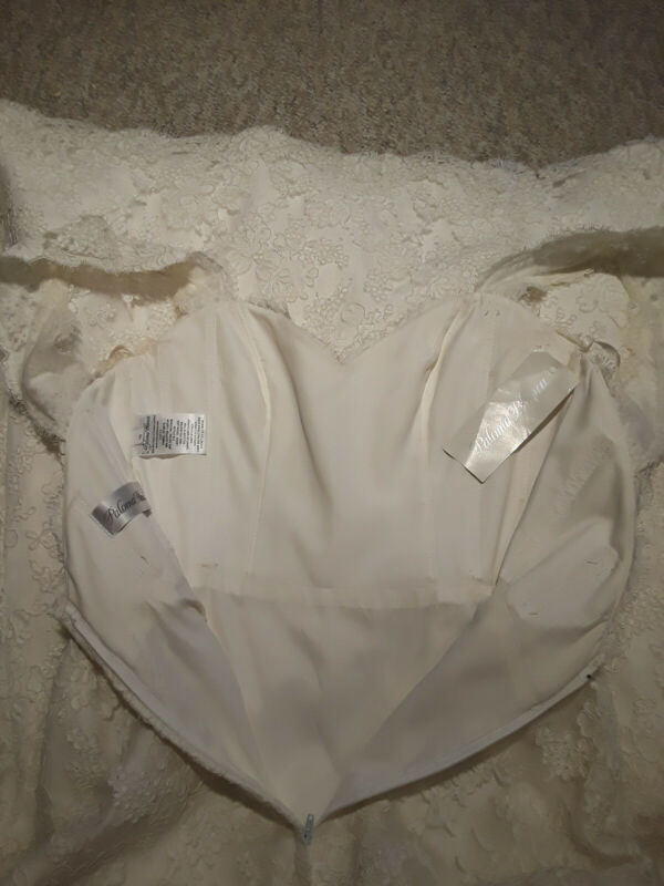 Paloma Blanca Wedding Dress size 10 Alencon Lace Mermaid in Natural