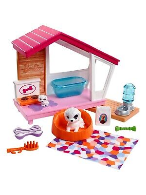 Barbie Doll Indoor Furniture Puppy Dog House & Accessories Set