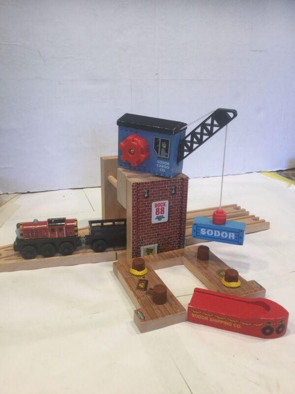 SODOR CARGO CO.~CRANE~SALTY~CAR~CARGO~DOCK~BARGE~TRACKS~Thomas The Train&Friends