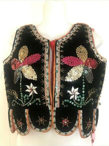 Vintage Polish Child Size Beaded Folk Costume Festival Vest with Ribbons POLAND
