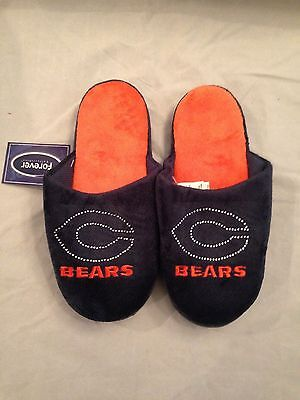 Chicago Bears NEW Small Jeweled Slippers . NFL Football Women NWT Warm House Fan ()
