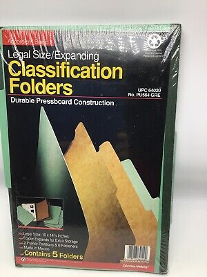 Accordian File Classification Folders Legal Size Expanding Expansion Pack Of 5