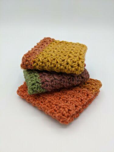 Crocheted Dish Cloths - Set of 3 - Summer Stripes - Handmade Soft 100% Cotton