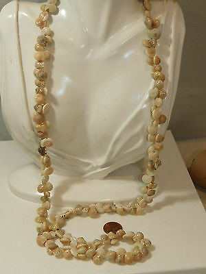 "Vintage Hawaiian Small Snail Shell Lei Garland Luau 34"" Necklace 7k 46"