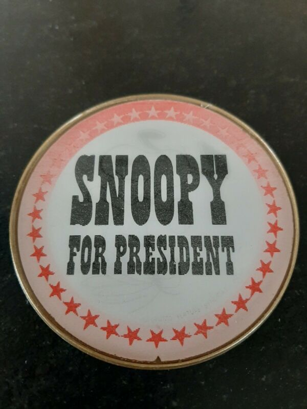 """3"""" Vintage """"Snoopy For President"""" Lenticular Flasher Button Pin-- Free Shipping"""