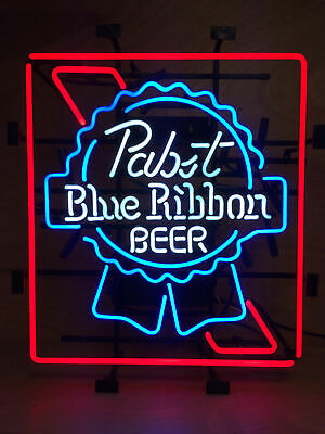 "Pabst Blue Ribbon Lager Bar Beer Neon Light Sign 20""x16"" Artwork Poster for sale  USA"