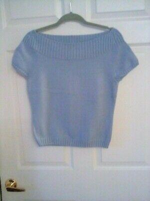 Ann Taylor 100% Cotton Baby Blue Open Knit Boat Neck Sweater  Size M Open Knit Boat Neck