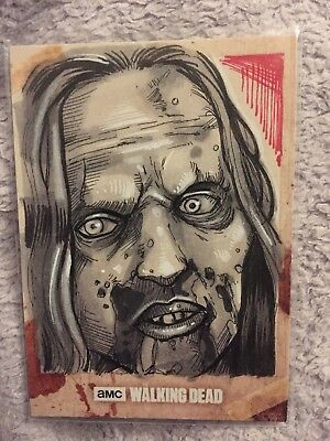 Topps The Walking Dead Sketch Card 1/1 Zombie Hunters And The Hunted