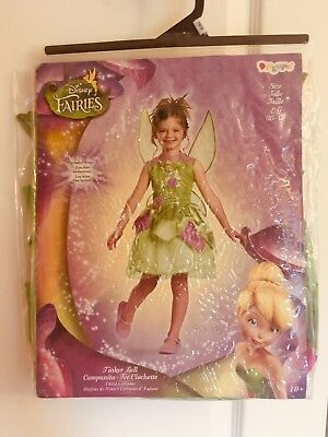 New Disney Fairies Tinker Bell Dress Costume for Girls Size LG (10-12) w/ Wings