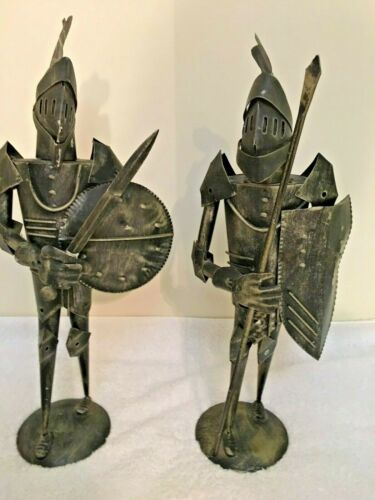 Metal Sculpture   Two Sixteen Inch Spanish Knights with Shields and weapons