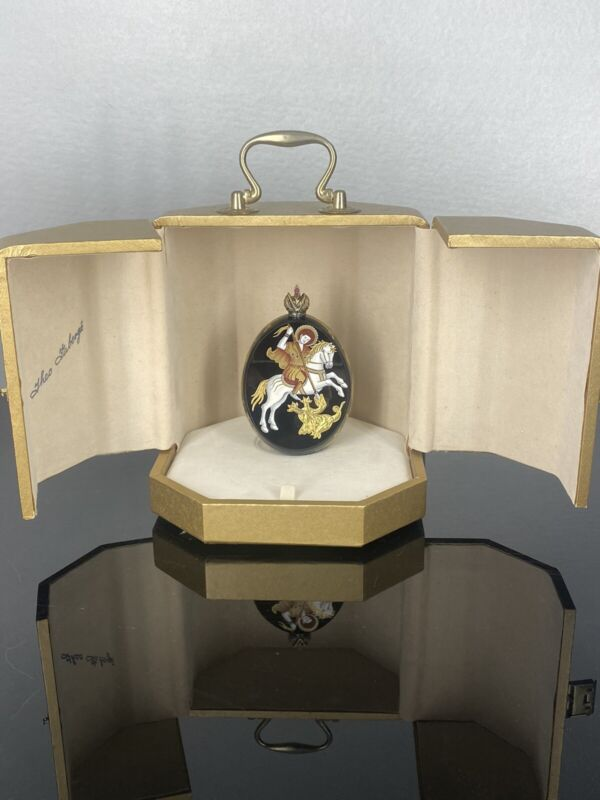 THEO FABERGE  THE ICON ST.GEORGE AND DRAGON EGG SIG. # 114