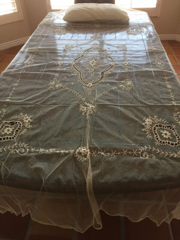 FABULOUS Edwardian Applique on  Net French Tambour Floral Bedspread Coverlet
