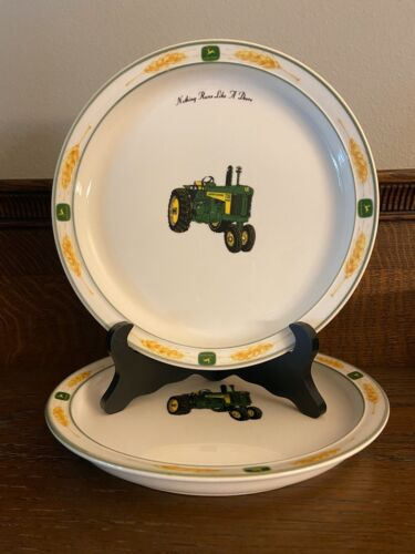 "Set of 2 John Deere Plates Gibson 8-1/4"" Tractor ""Nothing Runs Like a Deere"""