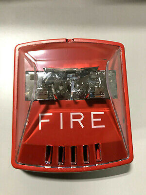 New Cooper Wheelock Hsr Horn Strobe Red Wall Mount Fire Lettering