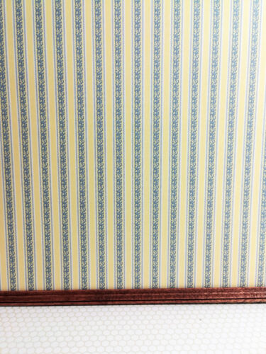 Dollhouse Miniature Striped Wallpaper Yellow & Gray Blue 1:12 Scale