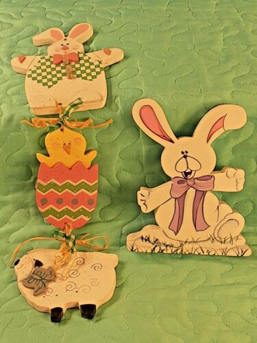 """2 Wooden Easter Decorations 5"""" Standing Easter Bunny 12"""" Hanging Easter Decor"""