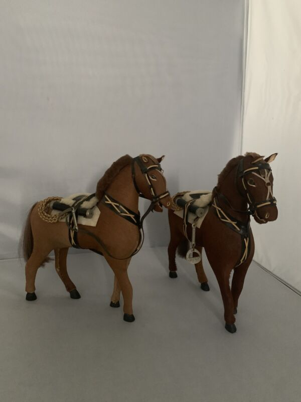 Two Vintage Folk Art Hand Made By Industria Argentina Toy Horse W /saddle.  X ,,