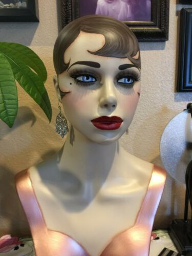 "Vintage Style Art Deco Flapper 21"" Mannequin Head/ Hat Stand #275"