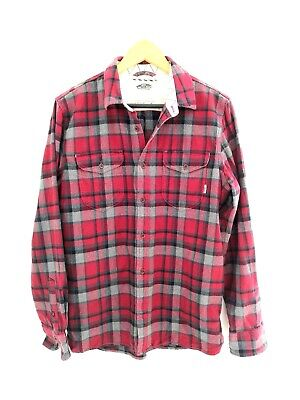 VANS Off the Wall Men's Red plaid long sleeve button casual shirt Size Small