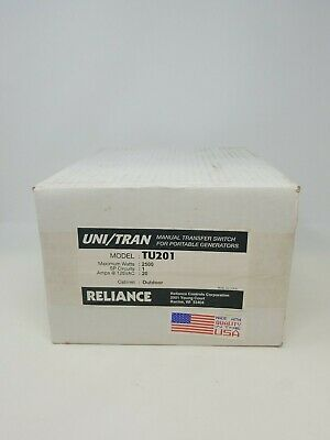 Reliance Tu201 Manual Transfer Switch For Portable Generators - Nos - 20 Amp