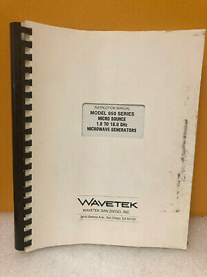 Wavetek 950 Series Micro Source Microwave Generators Instruction Manual