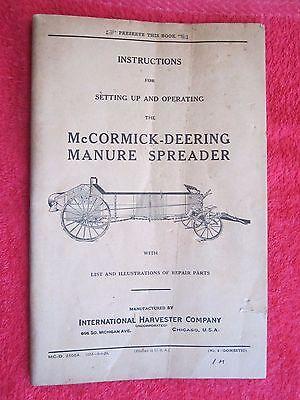 1929 Ih Mccormick Deering Manure Spreader Setting Up Operating Parts Manual