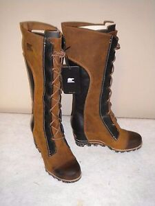 NEW Womens SOREL Cate the Great Tall Wedge Leather Boot Elk Sz 9 M #2276-286